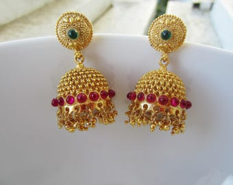 Ruby Kempu Jhumkas, Traditional South Indian Jumkis, Gold Jumkas, Indian Chandlier Earrings