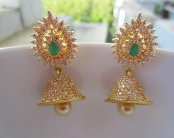 Emerald and White Cubic Zirconia Jhumkas, Indian Jewelry, Indian Earrings, Bell Shaped, South Indian Jumikis, Gold Jimikis, Bridal Earrings