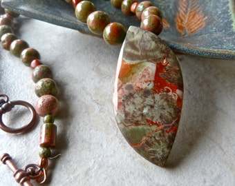 Earthy Spider Jasper Pendant, Unakite Jasper, Red Jasper Necklace