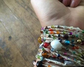 Color Wheel: Versatile crocheted necklace / bracelet / belt / headband