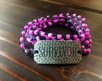 Survivor Sisterhood: Versatile crocheted necklace / bracelet / anklet/ headband