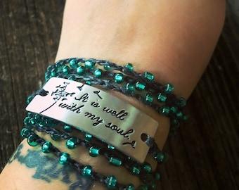 Peace: Versatile crocheted necklace / bracelet / belt / headband