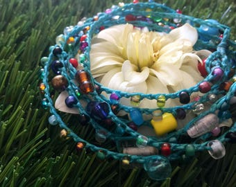 Confetti: Versatile crocheted necklace / bracelet / belt / headband