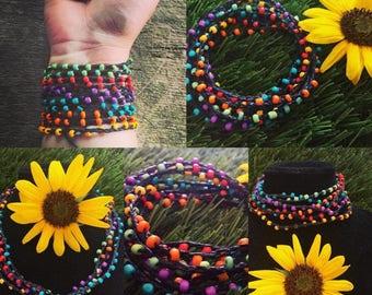Rainbow the World: Versatile crocheted necklace / bracelet / belt / headband