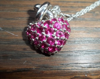 Sterling Silver Garnet Heart Necklace