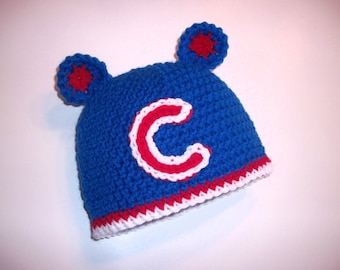 Pattern Chicago Cubs Crochet Hat 4 Sizes Newborn to Toddler INSTANT DOWNLOAD