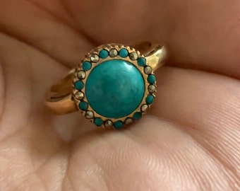 Antique 14k gold turquoise cabochon halo pyrite Marcasite ring