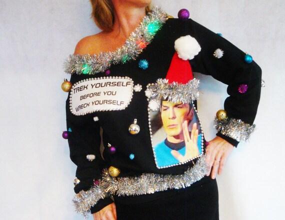 Ugly Christmas Sweater Star Trek Contest Winner Spock X Mas Etsy