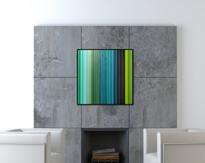 "Reclaimed Wood Art - ""Lagoon"" - 36""x36"" - Wood Stripes in Blue, Green, and Teal Wood Wall Art, Abstract, Minimalist Art"