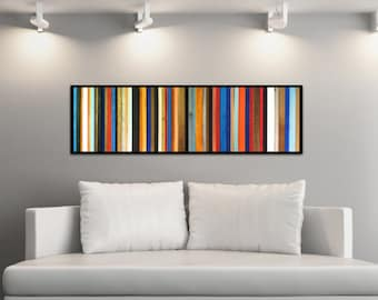 Rio - Reclaimed Wood Wall Art Painting in Red, Orange, Blues, White, and Bronze - Modern Wood Wall Art - Abstract Wood Art