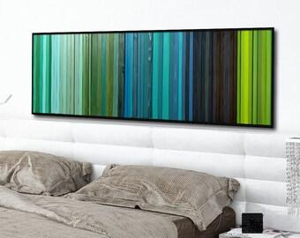"Reclaimed Wood Art - ""Lagoon"" - Wood Stripes in Blue, Green, and Teal Wood Wall Art, Abstract, Minimalist Art"