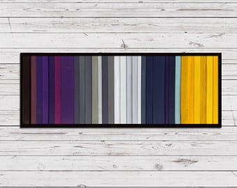 "Harvest Moon - Reclaimed Wood Art 10""x24"" - Wood Art in Purple, Blue, Gray, and Yellow - Modern Wood Paintings, Minimalist"