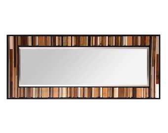 "Reclaimed Wood Mirror - 25x70"" - Leaner Mirror Floor Mirror - ""Natural Reflection""- Modern Wood Wall Art- Reclaimed Wood Art - Large Mirror"