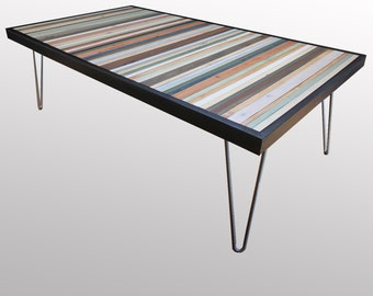"Reclaimed Wood Coffee Table or Desk -  ""Beach"" - in Neutrals, Browns, Blues, Greens, and Cream Stripes - Modern Wood Art - Abstract Wood Art"