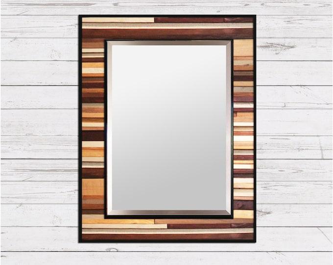 "Natural Reclaimed Wood Mirror - ""Natural Reflection""- Wood Stripe Wall Sculpture - 34x40"" - Modern Wood Wall Art"
