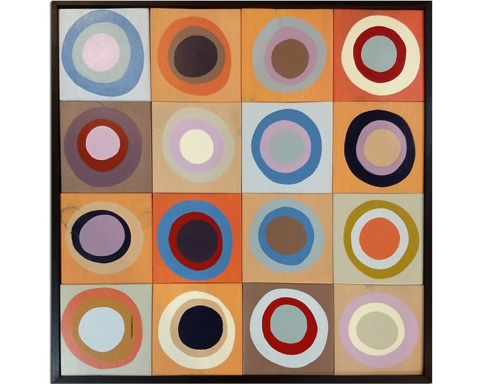 "Ready To Ship! Modern Wood Wall Art - ""Art Circles #1"" - Wood Squares with Circles - Wood Wall Art, Wood Wall Sculpture"