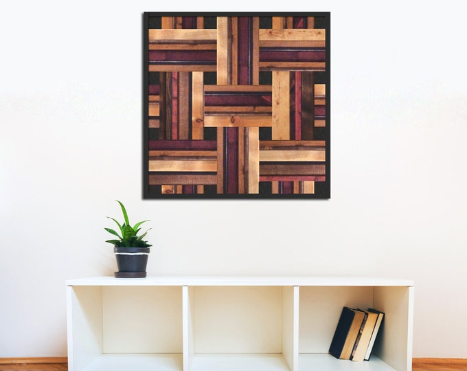Modern Wood Art - Reclaimed Wood Art Sculpture in Cherry, Ebony, and Golden Oak Wood Stains - Modern Wood Art - Abstract Wood Art