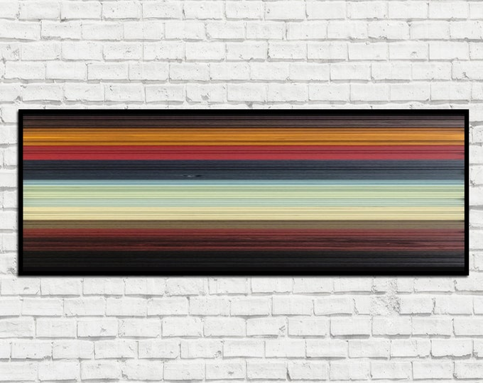 Sunset - Reclaimed Wood Art in Reds, Black, Yellow, Creams, Blues - Wood Wall Art - Modern Wall Art - Abstract Wood Art