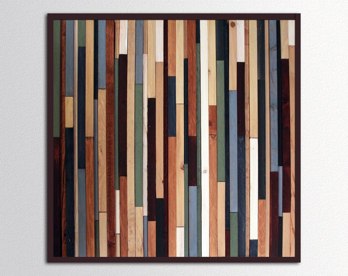 "Square Sea Crest - 24""x24"" Reclaimed Wood Art in Browns, Blues, Green, and White Stripes - Reclaimed Wall Sculpture - Modern Wood Wall Art"