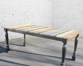 Beach Stripe Wood Dining Table with Traditional Post Legs