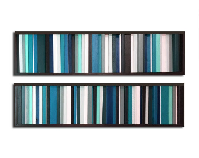"Reclaimed Wood Art - Two 7x30"" - ""Got the Blues"" Wood Art Pieces in Teals, Grays, Whites - Modern Wood Paintings, Minimalist"