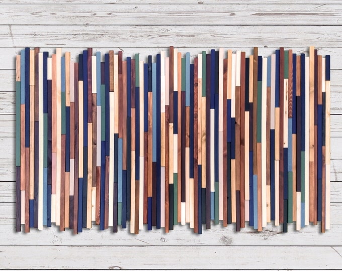 Ready to Ship! Reclaimed Wood Art - Frameless Sea Crest -  in Browns, Blues, Green, and White Stripes - Modern Wood Wall Art - Abstract Art