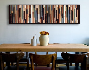 """Reclaimed Wood Art - """"Sea Crest"""" in Browns, Blues, Green, and White Stripes - Modern Wood Wall Art - Abstract Minimalist Art"""