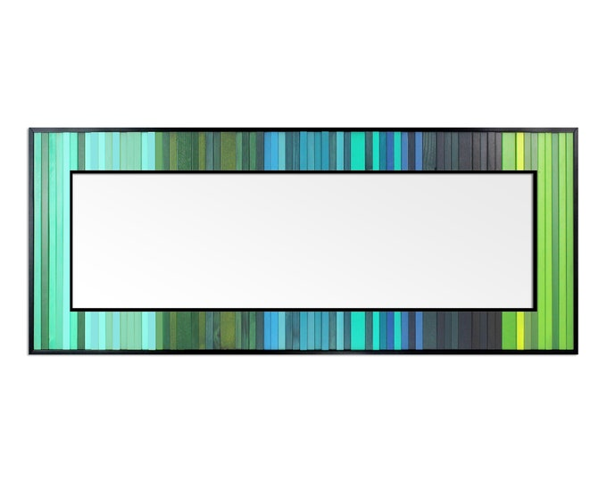 "Reclaimed Wood Art - ""Lagoon Reflection"" - Mirror Boarder in Blue, Green, and Teal Wood Wall Art, Abstract, Minimalist Art"