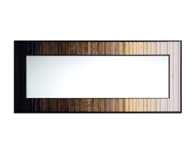 """Ready to Ship! Reclaimed Wood Mirror - 32x78"""" White Gray Black Leaner Mirror, Floor Mirror """"Moonlight Reflection"""" Wood Wall Mirror"""