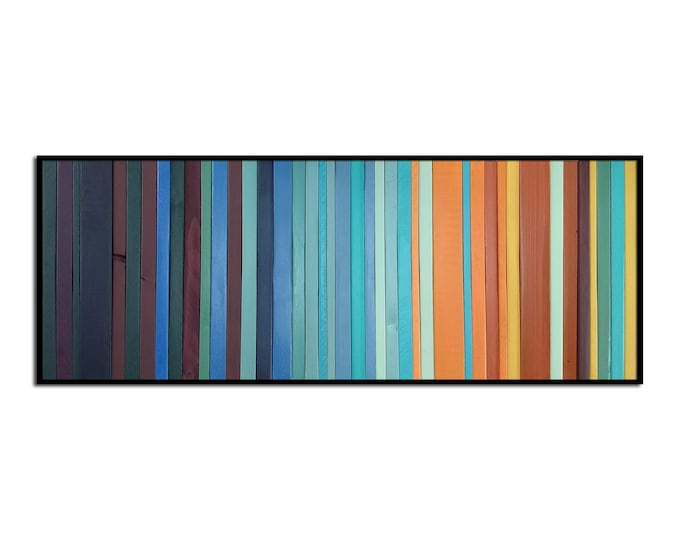 "Modern Wood Wall Art - ""Harvest Faire"" - Wood Stripes in Orange Yellow Blues Greens - 12"" x 30"" - Abstract Wood Art - Modern Wood Painting"