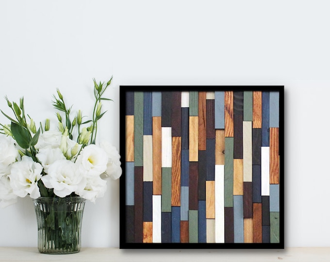 "Reclaimed Wood Art 12""x12""- ""Sea Crest"" in Browns, Blues, Green, and White Stripes - Modern Wood Wall Art - Abstract Art"