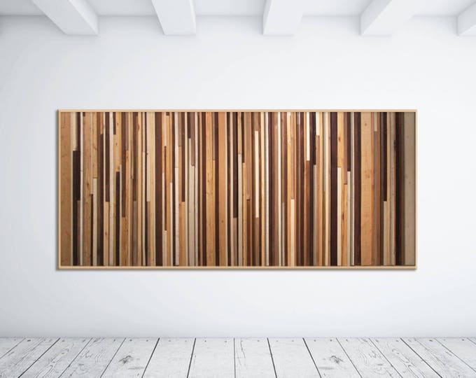 Modern Reclaimed Wood Wall Art Sculpture in Browns, Tan, Cream and Gray Strips - Modern Wood Wall Art - Reclaimed Wood Art