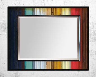 "Reclaimed Wood Mirror - ""Gradient Reflection"" - Reclaimed Wood Stripes - 34""x40"" - Modern Wood Wall Art - Functional Art"