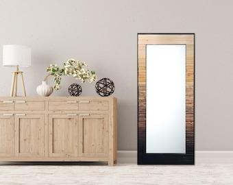 "Reclaimed Wood Mirror - 25x70"" - Natural Gray Black Leaner Mirror, Floor Mirror ""Ombre Reflection""- Modern Wood Wall Art- Reclaimed Wood Art"