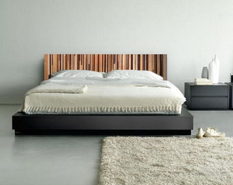 Modern Reclaimed Wood Wall Art - Frameless Wood King Headboard in Browns, Tan, Cream and Gray Stripes