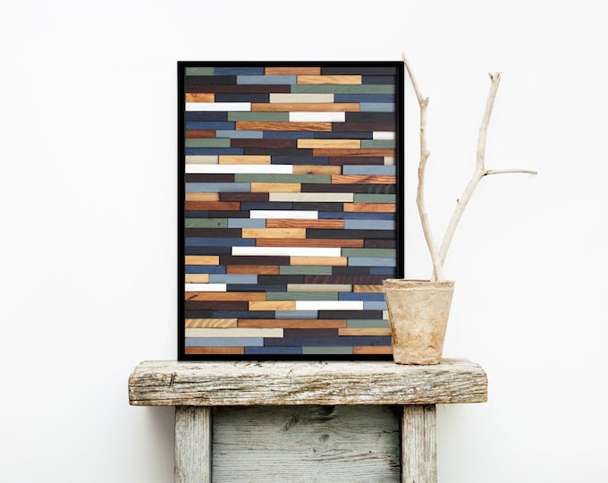 "Reclaimed Wood Art 18""x24""- ""Sea Crest"" in Browns, Blues, Green, and White Stripes - Modern Wood Wall Art - Abstract Art"