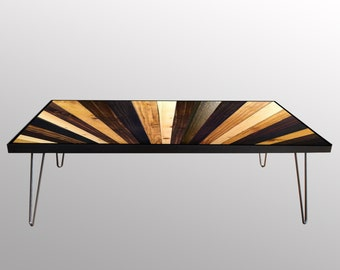 Stained Sunburst - Reclaimed Wood Coffee Table or Desk - Modern Wood Art