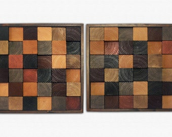 """Natural Wood Wall Art - """"Black and Tan"""" - Wood Squares in Tans, Browns, and Reds - pair of two 22x22"""""""