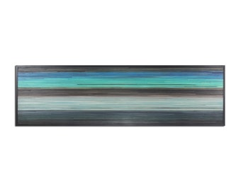 Horizon - Reclaimed Wood Art in Blues, Teal, and Browns - Wood Wall Art - Modern Art, Abstract Art, Minimalist Art