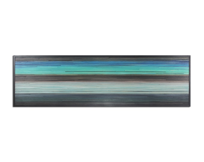 Horizon - Reclaimed Wood Art in Blues, Teal, and Browns - Wood Wall Art - Modern Art, Abstract Art, Minimalist Art