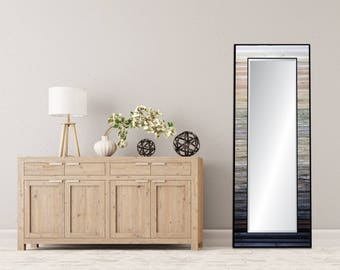 "Reclaimed Wood Mirror - 25x70"" - White Gray Black Leaner Mirror, Floor Mirror - ""Ombre Reflection""- Modern Wood Wall Art- Reclaimed Wood Art"