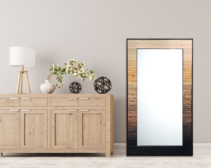 "Ready to Ship! Reclaimed Wood Mirror - 33.5x60"" - Natural Gray Black Leaner Mirror, Floor Mirror - ""Ombre Reflection""- Reclaimed Wood Art"