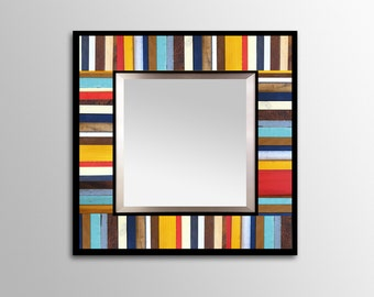 "Reclaimed Wood Mirror - ""Reclaimed Reflection""- Wood Stripes - Square - Scrap wood art"