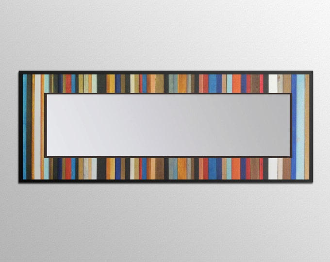 "Reclaimed Wood Mirror - 70x25 - Leaner Mirror - Floor Mirror - ""Rio Reflection""- Modern Wood Wall Art- Reclaimed Wood Art"