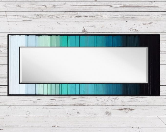 "Lake Reflection - Reclaimed Wood Art Mirror - 24""x60"" - Wood Mirror in Teals, Blues, and Black - Modern Wood Wall Mirror"