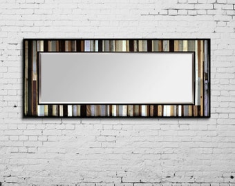 "Reclaimed Wood Mirror - Floor Mirror - ""Tonal Reflection""- 32x78"" - Modern Wood Wall Art - Abstract Wood Art - Reclaimed Mirror Large Mirror"
