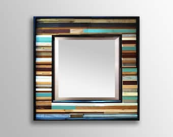 "Reclaimed Wood Mirror - ""Small Reclaimed Reflection""- Wood Stripes - Square - Scrap wood art"
