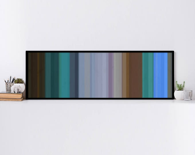 "Cove - Wood Stripes in Blues, Greens, Browns, and Teals 16""x55"" Wood Wall Art - Reclaimed Wood Art Abstract Wood Art Modern Wood Art"