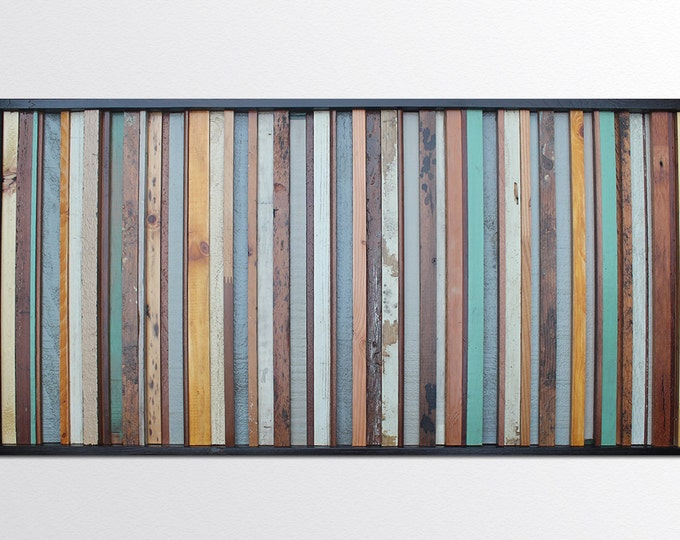 Savannah - Reclaimed Wood Art in Blues, Tans, and Browns - Reclaimed Wood Painting - Reclaimed Art Sculpture - Modern Wood Wall Art