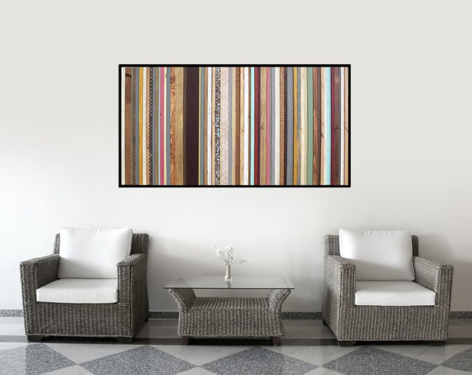 Arabian Nights - Reclaimed Wood Art in Purples, Blues, Reds, Orange and Creams - Modern Wood Wall Art - Abstract Wood Art